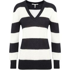 Skaist Taylor Striped Mohair Blend Jumper ($100) ❤ liked on Polyvore featuring tops, sweaters, shirts, blusas, black and white stripe sweater, black and white stripe shirt, black and white striped sweater, black and white shirt and stripe shirt