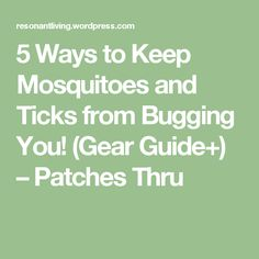 5 Ways to Keep Mosquitoes and Ticks from Bugging You! (Gear Guide+) – Patches Thru