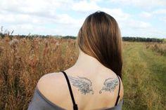 Wonderful feminine wing tattoo idea for the modern girls. Wing Tattoo Designs, Angel Tattoo Designs, Tattoo Designs And Meanings, Angel Wings Tattoo On Back, Back Tattoo, Fly Around The World, Tattoo You, Tattoo Images, Tatting