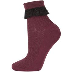 TOPSHOP Lace Trim Ankle Socks featuring polyvore, fashion, clothing, intimates, hosiery, socks, burgandy, cotton ankle socks, cotton socks, topshop, short socks and tennis socks