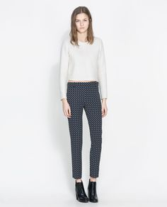 Image 1 of PRINTED TROUSERS WITH ZIPS from Zara