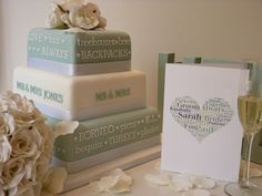 love the colors and wording on this wedding cake