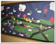 Transportation theme unit: Transportation mural - travel by land, water and air; similar to our shapes mural we already did for Farm unit.