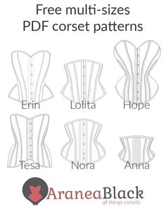 corset pattern Lineup of my free corset patterns! (Link in bio) We start with the latest in the top left (Erin) and finish with the oldest in the Corset Sewing Pattern, Sewing Patterns Free, Free Sewing, Clothing Patterns, Bra Pattern, Fashion Patterns, Corset Underbust, Diy Corset, Corset Outfit