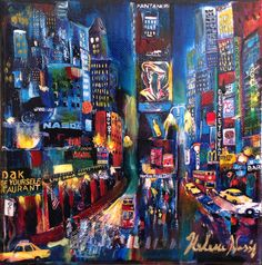 Art Painting on a stretched Canvas  Broadway streets  small format 6x6in.