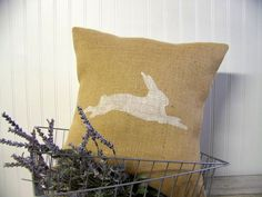 bunny silhouette pillow cover - easter pillow - decoration - rabbit - burlap - natural - rabbit. $21.99, via Etsy.