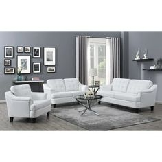 2 pc Strick & bolton makoma freeport white faux leather sofa and love seat set. This set features pocket coil seating and sinuous spring base. Sofa measures x x H. Love seat measures x x H. Chair also available sep Tufted Leather Sofa, White Leather Sofas, Leather Sofa Set, White Sofas, Tufted Sofa, Leather Chairs, Blue Sofas, Living Room Table Sets, 3 Piece Living Room Set