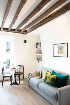 Studio Paris 16 totally renovated by an interior designer – toptrendpin. Furniture, Small Spaces, Interior, Apartment Design, Home Decor, Flat Plan, Studio Room, Small Apartment Paris, Interior Design