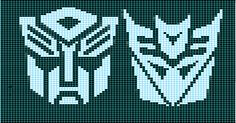 Ravelry: Autobot-Decepticon Matched Charts pattern by Elizabeth Thomas <---- I want to make this as a cross stitch for my nephew's birthday in two days.