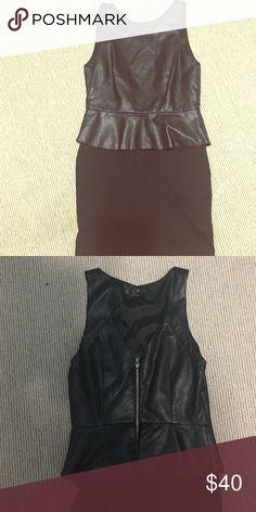 Leather peplum Dress Sexy Size medium faux leather dress. Top (faux) leather. Fits sexy. Form fitting peplum dress. This is not a Zara dress! I don't know the brand. I got it at a boutique. Zara Dresses Mini