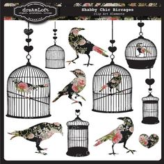 Shabby Chic Bird Cages Clip Art