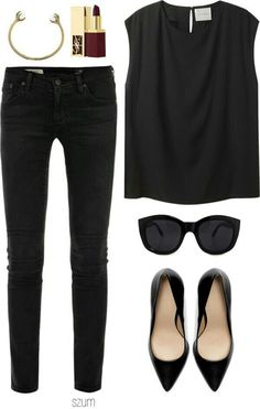 so classic. this top a million times --- Audrey Hepburn outfit inspiration. The basic idea is style as simple as possible. Looks Style, Style Me, Girl Style, Mode Outfits, Casual Outfits, Black Outfits, Look 2015, Look Fashion, Womens Fashion