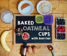 Baked Oatmeal Cups with Berries and Banana | BeachbodyBlog.com --- Nonstick cooking spray. 2 large eggs, lightly beaten. 1 tsp. pure vanilla extract. 2 large bananas, mashed. 1 Tbsp. raw honey. 2½ cups old-fashioned rolled oats. 1 Tbsp. ground cinnamon. 1½ tsp. baking powder. 1½ cups unsweetened almond milk. 1 cup fresh blueberries (or raspberries).