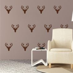 Deer Wall Decal Kit, Deer Stickers, Antlers Stickers, Animal Wall Decals, Deer Head Wall Decal, Wallpaper Wall Decals, Hunting Wall Art, a32