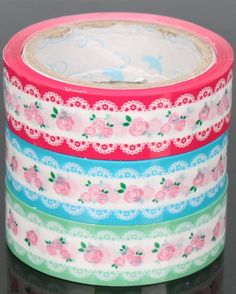 White+lace+Shabby+Chic+Rose+Deco+Tape+Adhesive+by+CharmTape,+$3.95