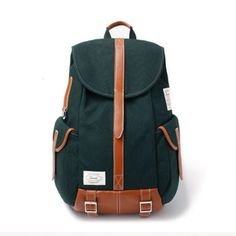 [Noart] Sweed Plate Canvas Laptop Backpack - Green - Inspired from Austrian mountain soldier's rucksack. This is made of mixture of leather and durable canvas. Functional storages structure and protective material bring convenient experience. It offers useful organizing pockets including laptop pocket, plus very comfortable shoulder straps and back support.  Enjoy the stylish look with Noart backpacks. This will be perfect choice for school, outings, or biking to work.   Brand 'Noart' No…