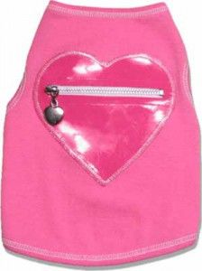 Pink heart top with zipper pocket for dogs - www.queenofpaws.com