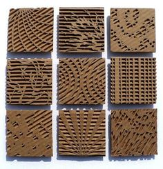 Cardboard relief sculpture focused on pattern and texture. Middle or high school art project. Cardboard Sculpture, Cardboard Crafts, Cardboard Painting, Cardboard Design, Cardboard Relief, Middle School Art, Art Classroom, Teaching Art, Art Lessons