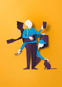 Editorial Illustration by Eiko Ojala – Design 3d Paper Art, Paper Artwork, Paper Craft, Paper Cutting, Papercut Art, Eiko Ojala, Illustration Arte, Creative Illustration, Portrait Illustration