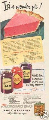 1940's Knox Gelatine Wonder Pie - Raspberry Chiffon Pie