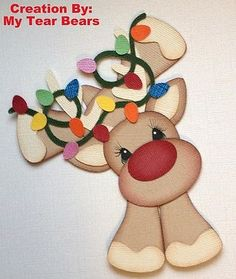 Tocg Premade Reindeer with Lights Paper Piecing by My Tear Bears Kira | eBay by lucia