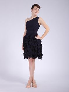 One-shoulder Layered Chiffon Bridesmaid Dress  Sheath/Column,Knee Length,One Shoulder,Strapless,Natural,Sleeveless,Ruffles,Zipper,Chiffon,Spring,Summer,