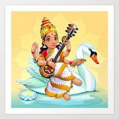 Sarasvati, Hindu goddess of knowledge, arts and learning. Art Print by Danilo Sanino - X-Small Saraswati Goddess, Goddess Art, Durga Maa, Indian Gods, Indian Art, Cartoon Character Tattoos, Hindu Deities, Krishna Art, Hindu Art