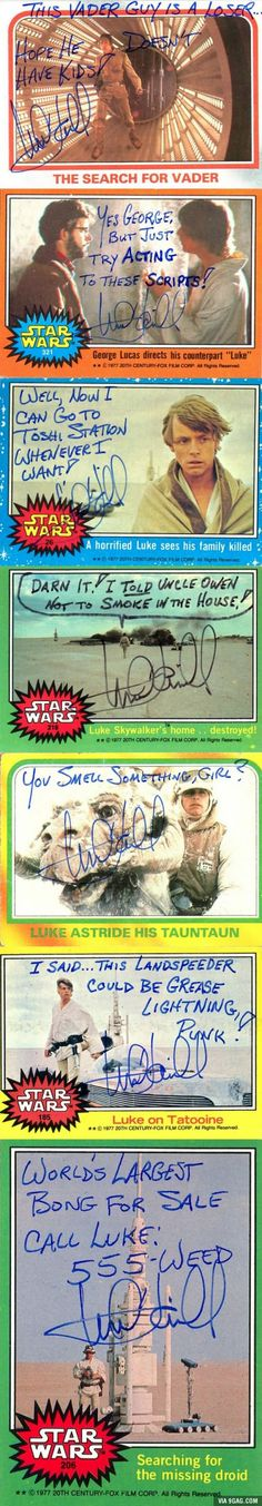 Star Wars - Mark Hamill Autographs. I love that he is this much fun in person.