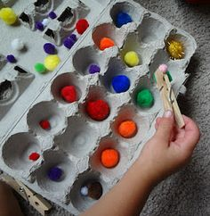 Pick up the Fuzzys - develop fine motor skills by having kids pick up the fuzzies and sort them into an egg carton. Great for Beanie! Dementia Activities, Motor Skills Activities, Montessori Activities, Fine Motor Skills, Toddler Activities, Craft Stick Crafts, Preschool Crafts, Crafts For Kids, Preschool Curriculum