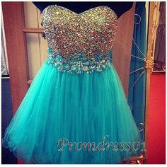 2015 cute sweetheart strapless beaded sparkly sky blue organza short prom dress for teens, ball gown,evening dress, plus size dresses Semi Dresses, Cute Prom Dresses, Prom Dresses 2016, Prom Dresses For Teens, Tulle Prom Dress, Dance Dresses, Pretty Dresses, Beautiful Dresses, Formal Dresses