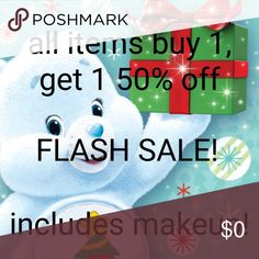 All items bogo 50% off! FLASH SALE! For a limited time only, all items are buy one at regular price, get a second item at 50% off. This includes every listing! Make an offer at bogo 50% off equal or lesser value  Or Add items to a bundle for a no obligation quote.  Happy poshing!  There is still time to shop for great new year's party looks! Makeup