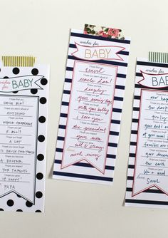Cute! Printables wishes For Baby Banner Stripe Blue, Coral & Yellow
