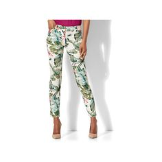 The Audrey Ankle Pant Tropical Print Petite ($35) ❤ liked on Polyvore featuring pants, natural, white pants, tall pants, ankle pants, ankle length jeans and white ankle pants
