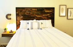 Get crafty with the reclaimed wood panels and make a headboard! Reclaimed Wood Wall Panels, Wood Panel Walls, How To Make Headboard, Wood Pieces, Teak Wood, Wood Colors, Interior And Exterior, Dark, Furniture
