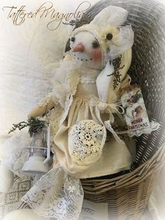 "Primitive Folk Art Snowman Vintage Lace & Lantern ""Crystal"" Tattered Magnolia #Primitive #TatteredMagnolia"