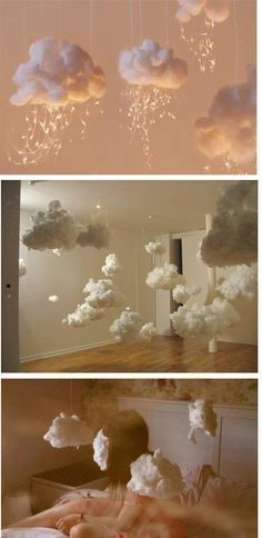 How to Make a Hanging Cloud. There are few things as relaxing and inspiring as clouds. Unfortunately, you can't always go outside to look at them. Instead of mi