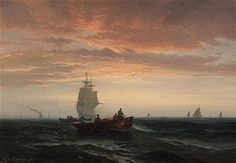 Edward Moran, American, Fisherboats and Full Masted Ships at Sunset Victorian Art, Roman Numerals, Golden Age, Statue Of Liberty, Oil On Canvas, Sailing, 19th Century, Sunset, American