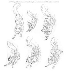 Spring Fox Tattoo Sketches by pallanoph - ooh what body shape?? the first, but legs on the right?
