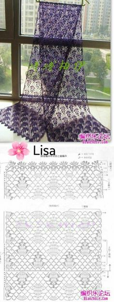 Creative Contents about DIY & Crafts, Knitting, Hairstyles, Beauty and more - Post Stole Vine Grozdya Nezhny Stole Crochet 400961173063242333 Pi. Crochet Lace Scarf, Crochet Shawls And Wraps, Crochet Scarves, Lace Knitting, Crochet Motif, Diy Crochet, Crochet Clothes, Crochet Hats, Crochet Ideas