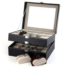 Leather 20 Grids Watch Display Case