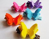 Butterfly Felt Hair Clip, set of 5 Butterfly Clip