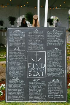 Large Nautical Chalkboard Seating Chart | Photography: Luke & Katherine Griffin for Max & Friends. Read More: http://www.insideweddings.com/weddings/tent-wedding-with-chic-nautical-theme-on-la-playa-bay-in-san-diego/737/