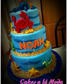Under the Sea themed cake for boys 1st Birthday