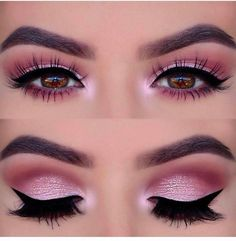Sometimes makeup is important for women. But not all women have the opportunity to do makeup, especially eye makeup. Eye makeup is not an easy thing to do for some people. It needs experience to make an amazing eye makeup. Are you a beginner for this Pink Eye Makeup Looks, Smokey Eye Makeup Look, Pink Smokey Eye, Day Makeup Looks, Eye Makeup Steps, Pink Makeup, Makeup For Brown Eyes, Eyeshadow Makeup, Smoky Eye