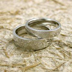White Gold Fingerprint Ring or Thumbprint Wedding Band Slightly Rounded Personalized Custom Fingerprint Ring, Fingerprint Wedding, Wedding Engagement, Wedding Bands, Wedding Things, Wedding Stuff, Custom Wedding Rings, Love Ring, Fashion Rings