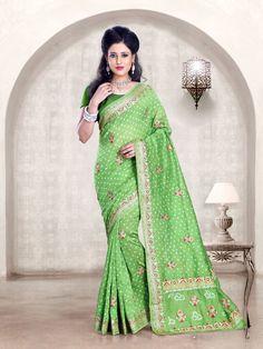 Hand-made Bandhani Gadhwali / Chanderi silk saree. All over border and buttas.  Available in 15 colors  For more details call/whatsapp 91-9377399299  #sankalpthebandhejshoppe #bandhej #bandhani #tiendye #chanderisilk #designersaree #sari #saree