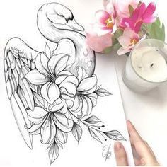 No photo description available. Sketches, Tattoos, Art Drawings, Drawings, Body Art, Bird Drawings, Tattoo Sketches, Flower Tattoo, Swan Tattoo