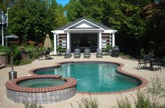 Concrete Pool with Brick Coping and Attached Spa