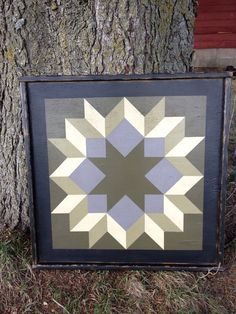 PriMiTiVe HandPainted Barn Quilt Framed 2' x 2' by CrowCorner, $75.00