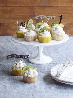 Kiwi+Peach Turns One + Spiked Peach Cupcakes with Bourbon Buttercream